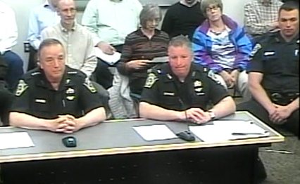 Lincoln police officers at a recent Board of Seelctmen meeting includes (left to right) Chief Kevin Mooney, Lt. Kevin Kennedy and Officer Anthony Moran.