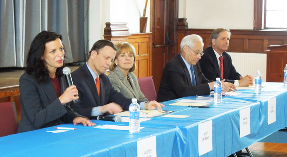 Democratic gubernatorial candidates at the Bemis Hall forum were (left to right) Juliette Kayyem, Steve Grossman, Martha Coakley, Don Berwick and Joe Avellone.