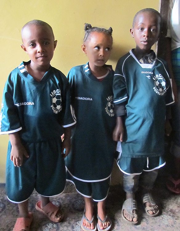 lowest price a961f b851a Ethiopian kids happily don donated Lincoln soccer uniforms