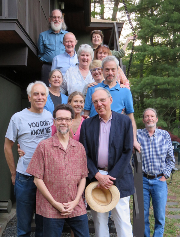 "Current and former members of the Planning Board, the Board of Selectmen, and other guests gathered on Sunday, May 17 at the Todd Pond home of Rick and Virginia Rundell in honor of Bob Domnitz's 12 years of service on the Planning Board. Pictured from top: John ""JR"" Robinson, Virginia Rundell, Frank Clark, Lynn DeLisi, Bryce Wolf, Margaret Olson, Rich Rosenbaum, Renel Fredriksen, Bob Domnitz (the honoree), Carolyn McQueen, Peter Braun, Bob Wolf, and Rick Rundell. Also attending but not in the photo were James Craig, Pam Gallup, and Ken Hurd."